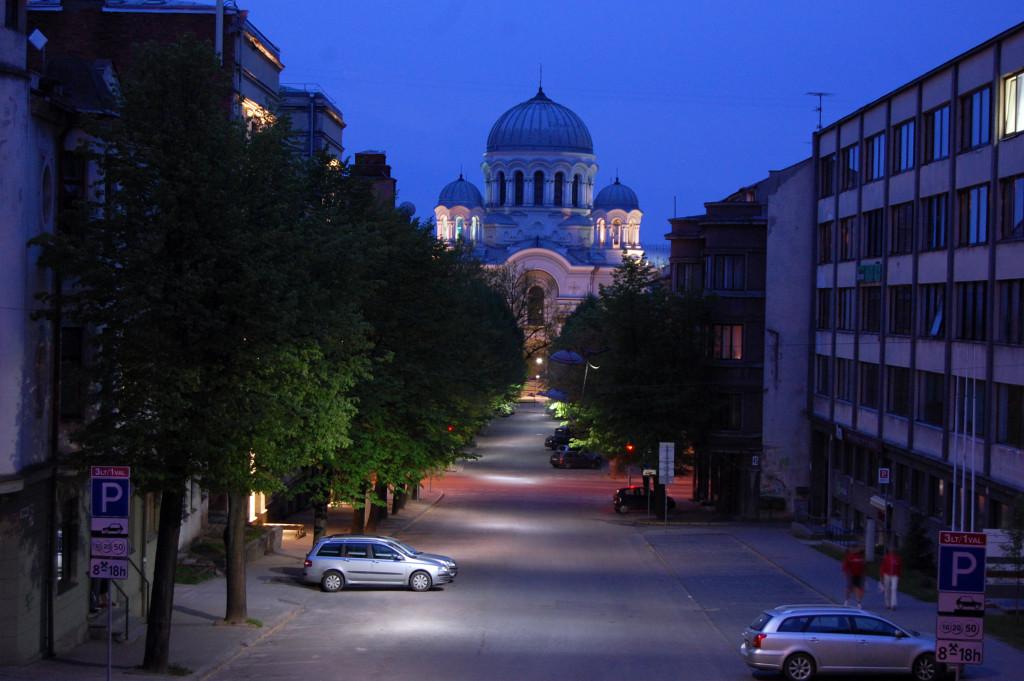 Вид на ночной Каунас